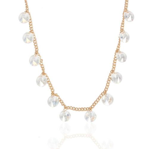rhinestones on gold chain short necklace