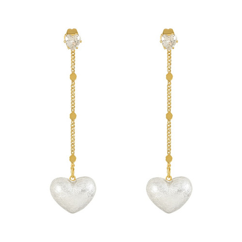 beautiful rhinestone heart shaped stud on 925 posts with detachable tassel with heart on end
