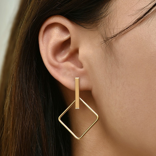 simple square shape earrings hung from vertical bar on posts