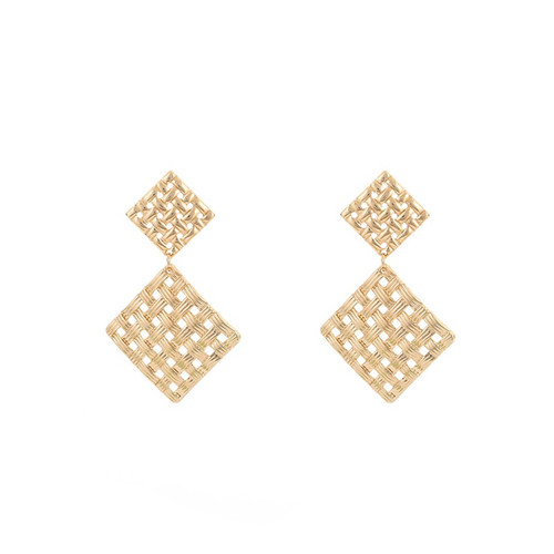 2 drop gold coloured loose woven square earrings on posts