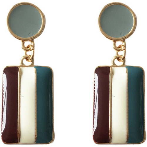 Burgunday, cream and Teal stripe oblong hung beneath a grey stud on posts earrings