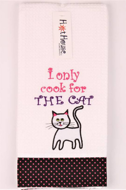 """Funny Tea Towel - 100% cotton - """"I only cook for the cat"""""""