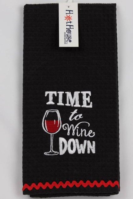 """Funny Tea Towel - 100% cotton - """"Time to wine down"""""""
