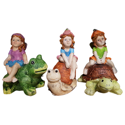 Fairies riding animals - painted cement figurines ( 3 designs to collect)