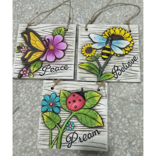 Hand painted cement wall plaque hung from twine (3 designs) price per plaque