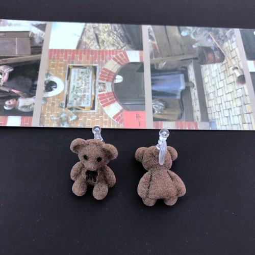 Plush bear clip on earrings