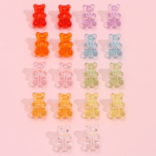 Candy coloured clear Gummy Bear stud earrings - price per pair