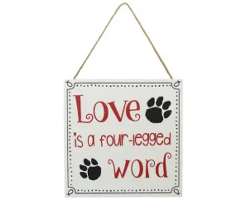Pet hanger sign - Love is a four-legged word