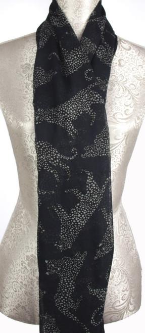 Black scarf with leopard pattern