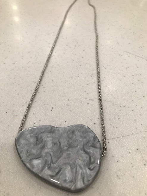 Silver resin pendant on silver chain