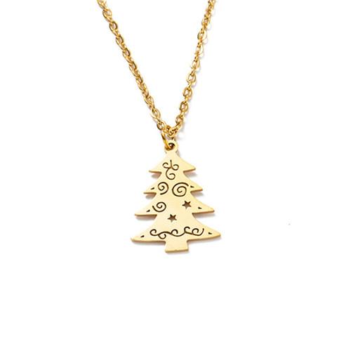 Titanium Steel Christmas Tree Necklace
