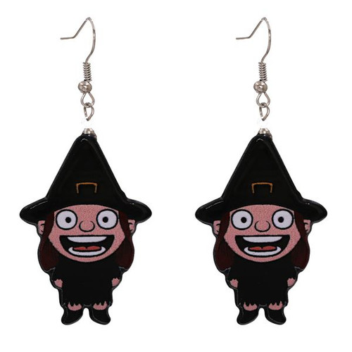 Little girl witch hanging earrings