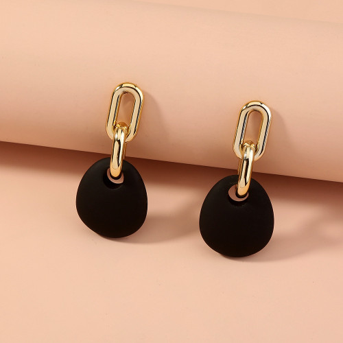 Black and Gold oval shape earrings