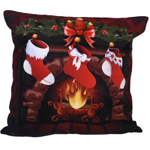 Christmas stockings in front of the fire cushion cover