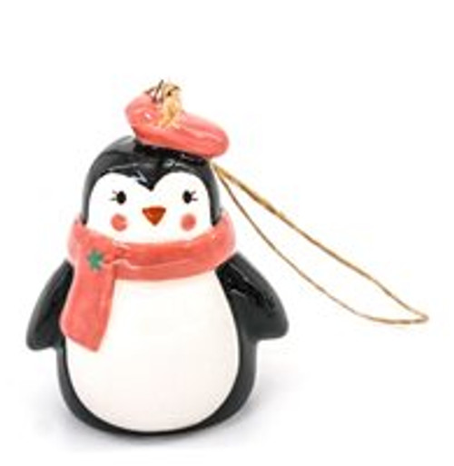 Tree Hanger - penguin with pink scarf