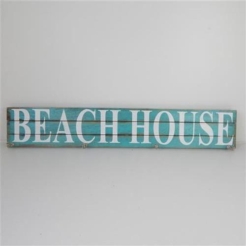 Aqua Beach House sign with hooks
