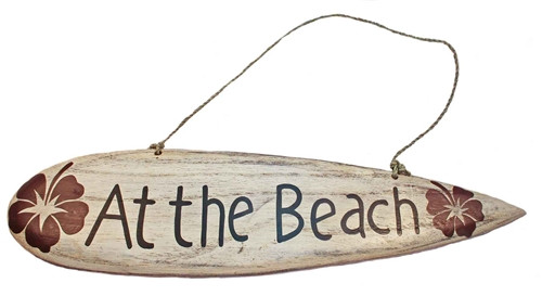 """Small wall hanging wood sign """"at the beach"""""""
