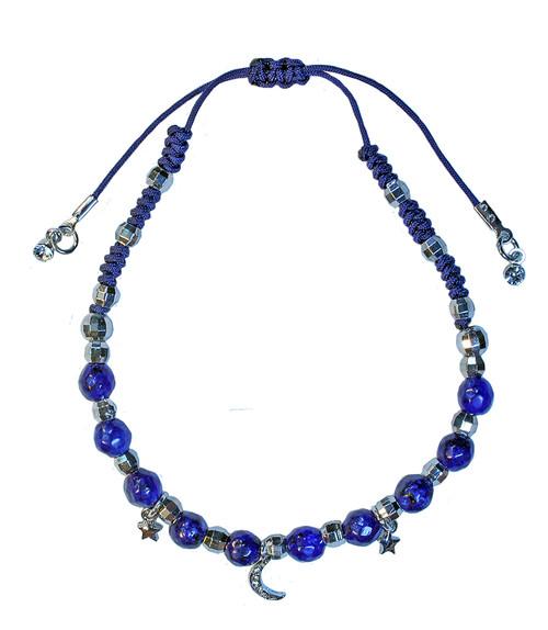 Dark Blue beaded bracelet with moon and stars
