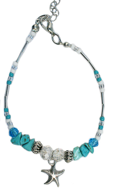 Starfish and stone anklet