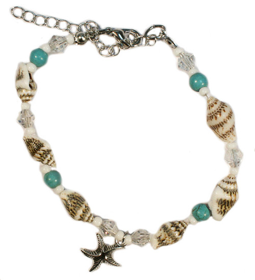 Starfish and shell anklet