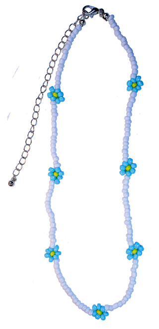 Flower pattern beaded choker - comes in 3 different colours