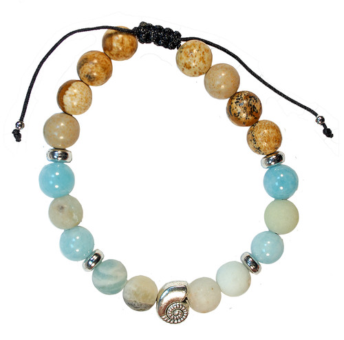 Adjustable beaded marine colours bracelet with silver colour conch shell charm