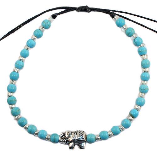 turquoise blue and silver elephant adjustable bracelet
