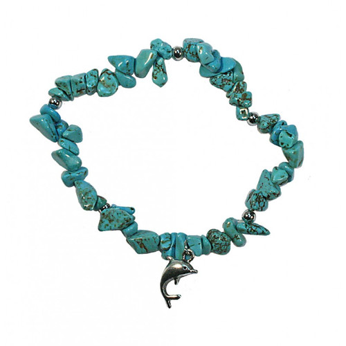 Dyed Howlite Chip (Turquoise colour) bracelet with dolphin charm
