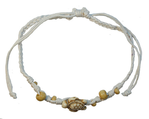 White anklet with turtle