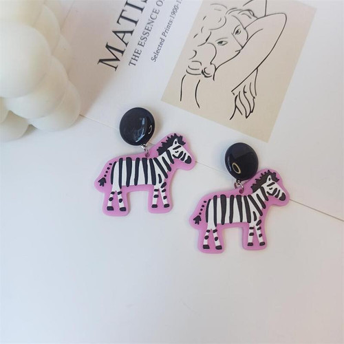 Zebra earrings with pink edging