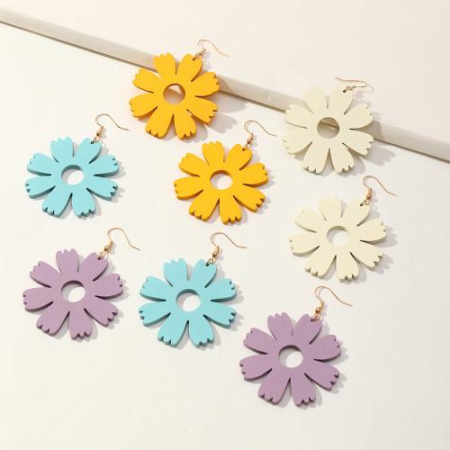 Large flower dangly earrings
