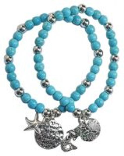 Howlite Mermaids Kisses, Starfish wishes double bracelet