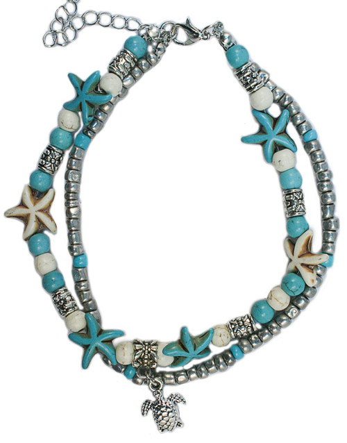 Blue and white starfish and turtle anklet