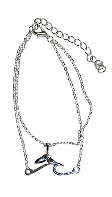 Dainty silver anklet with whale tail and wave