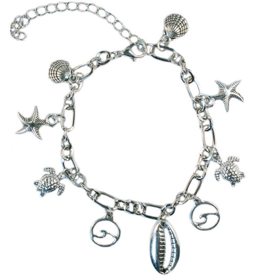 Turtle, Shell and wave silver coloured bracelet