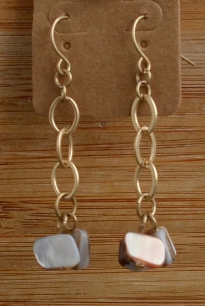 Chain and Stone Earrings Gold