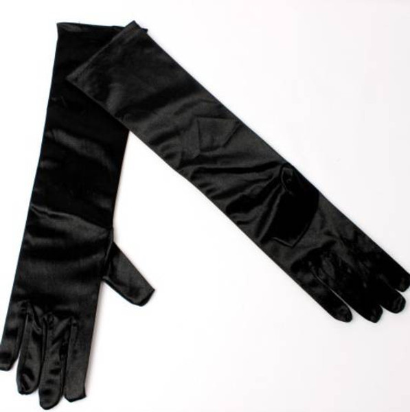 Long silky smooth plain evening gloves (silver or black)