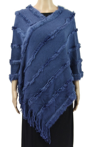 Poncho with fluffy stripe trim lines (comes in 14 different colours)