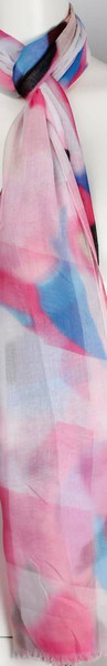 soft print abstract shape pattern scarf - pink