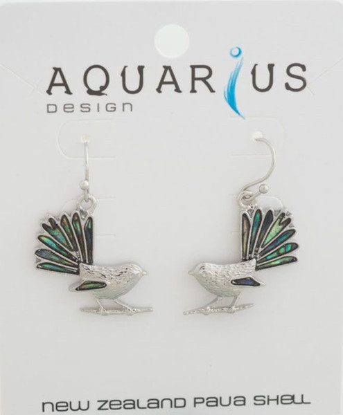 Fantail with NZ natural Paua in tail and wing as earrings