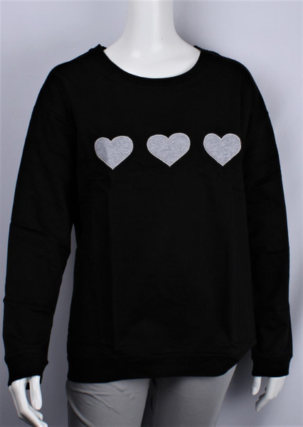 3 embroidered hearts on cotton sweatshirt - (black or grey)