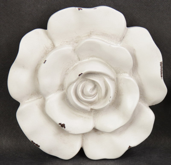 antique white rose wall plaque