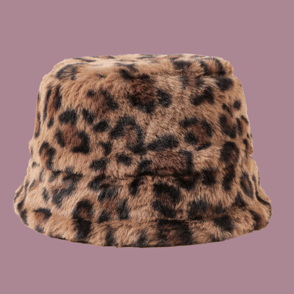 Plush Cheetah print bucket hat (50cm - 52cm small)