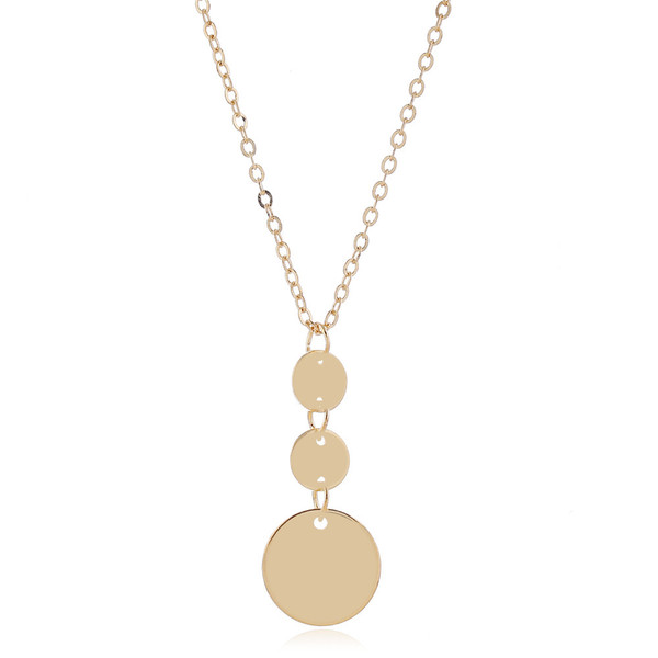 3 small drop circles on a chain pendant necklace comes in silver or gold colour