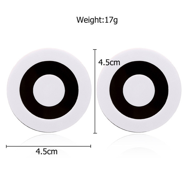 Round black and white circle earrings on posts