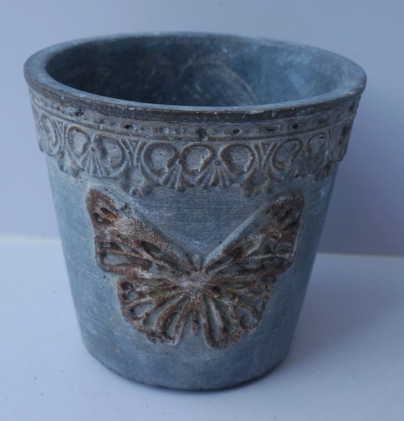 Cement plant pots with butterfly and lace pattern (2 sizes)
