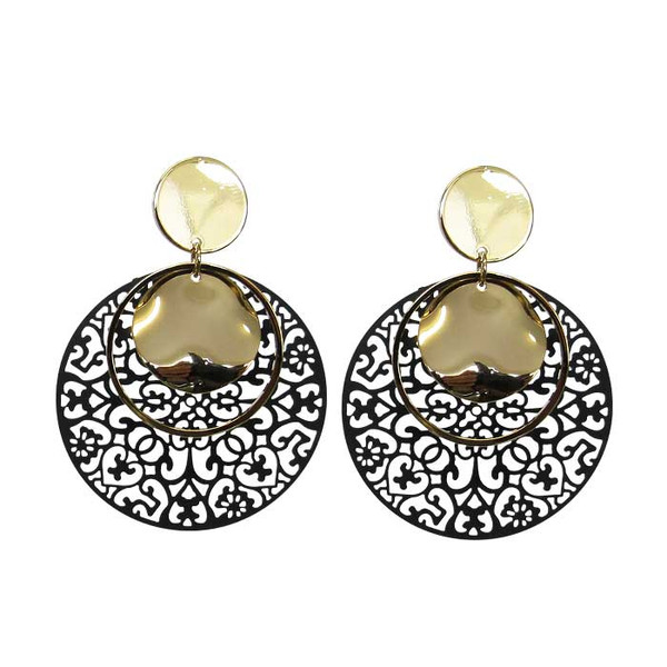 Black lattice pattern and gold circle earrings