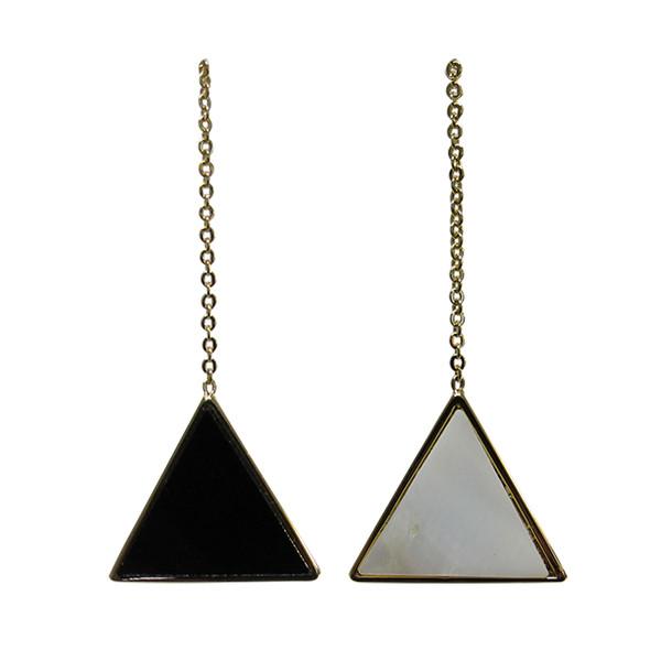 Triangle earrings on a chain