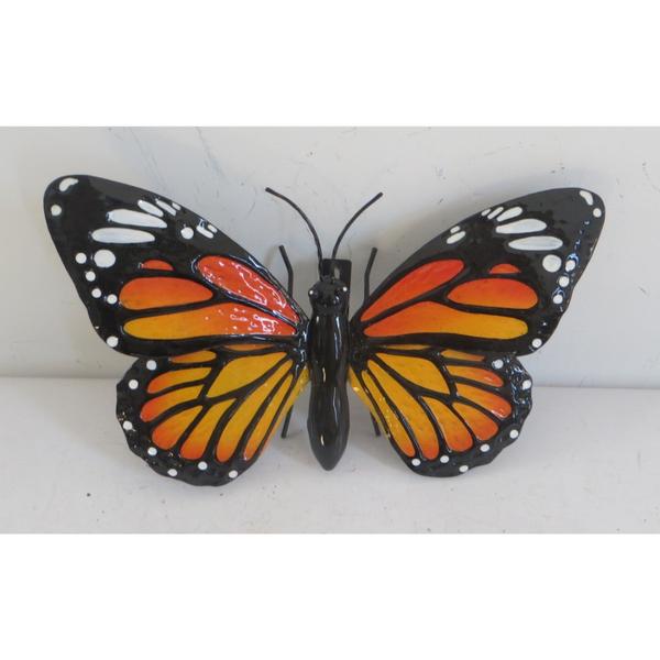 Metal Wall Hanging Monarch Butterfly - 25cm across