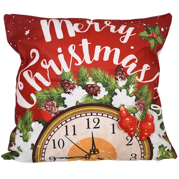 Merry Christmas Cushion cover with clock and wreath